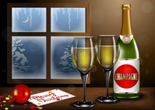 Merry Christmas interior with Champagne and glass on table stock illustration