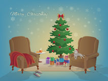 Merry Christmas interior with Christmas tree, armchairs, colorful boxes with gifts, blanket, slippers, hot milk, a croissant, cat. Merry Christmas interior with Royalty Free Stock Image