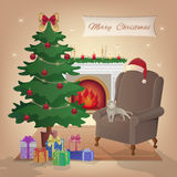 Merry Christmas interior with fireplace, Christmas tree, armchair, boxes with gifts, candles, Santa Claus hat, decorations, cat Royalty Free Stock Images