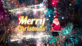 Merry christmas intro. Merry christmas nice beautiful fine animation cool intro with fireworks and gold title complete show for tv stock footage