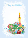 Merry Christmas invitation card with gifts and candle Stock Images