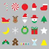Merry Christmas - Isolated Icons. Vector Easy-To-Use 20 Colorful Merry Christmas Isolated Flat Icons And Reflection With Reindeer, Santa Claus , Snowman stock illustration