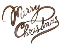 Merry Christmas Isolated Text. Chocolate Christmas cursive text greeting. Clipping path included for easy selection Royalty Free Stock Photography