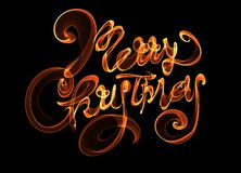 Merry Christmas isolated text lettering written with flame fire light on black background. Orange red color.  Royalty Free Stock Image
