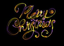 Merry Christmas isolated text written with flame fire light on black background. Violet and Yellow color.  Stock Image