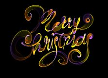 Merry Christmas isolated text written with flame fire light on black background. Violet and Yellow color.  Stock Photos