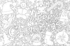 Merry Christmas isolated on the white background for coloring book Royalty Free Stock Photos
