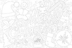 Merry Christmas isolated on the white background for coloring book Stock Photography