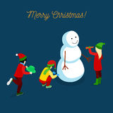 Merry Christmas Isometric Greeting Card with Children Making Snowman Royalty Free Stock Photos