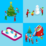 Merry Christmas Isometric Greeting Card Set. Santa with Gifts, Christmas Tree with Children, Ice Rink Stock Images