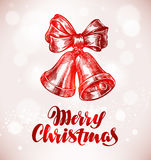 Merry Christmas. Jingle bells with bow. Sketch vector illustration. Merry Christmas. Jingle bells with bow. vector illustration Royalty Free Stock Photography