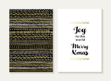 Merry christmas joy card set pattern gold tribal. Merry Christmas card template set: retro tribal indian shape elements seamless pattern and trendy Xmas text in Stock Images