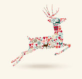 Merry Christmas jump deer illustration Royalty Free Stock Image