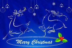Merry Christmas with jumping Reindeer Royalty Free Stock Photography