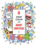 Merry Christmas! Keep Calm and Merry Christmas.  Vector doodles illustration. Merry Christmas! Vector doodles illustration Keep Calm and Merry Christmas with Royalty Free Stock Photos