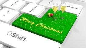 Merry Christmas keyboard with baubles and champagne Royalty Free Stock Photo