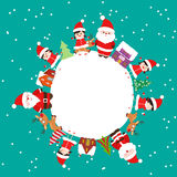 Merry christmas with kids and element on earth Royalty Free Stock Images