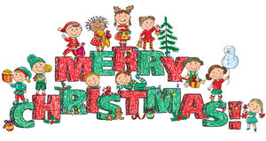 Merry Christmas kids on letters Royalty Free Stock Images