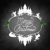 Merry Christmas with kids sledding, pine trees, and animals Royalty Free Stock Image