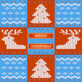 Merry Christmas knitted card Royalty Free Stock Images