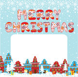 Merry Christmas knitted letters. Cartoon Christmas Stock Image