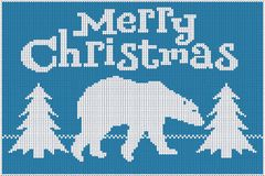 Merry Christmas. Knitted sweater, blue and white, featuring a polar bear and Christmas trees. stock illustration