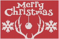 Merry Christmas. Knitted sweater, red and white, with depictions of deer antlers and snowflakes. vector illustration