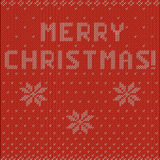 Merry christmas knitting background. Merry christmas! inscription with snowflakes ornament knitting background Stock Photography