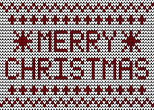 Merry Christmas Knitting Pattern Royalty Free Stock Images