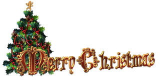 Merry Christmas Label design 3D text Royalty Free Stock Photography