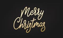 Merry Christmas label. Gold Lettering sticker badge.  stock illustration