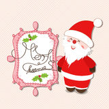 Merry christmas label with santa claus Royalty Free Stock Images