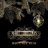 Merry christmas label. stock illustration