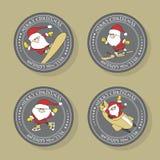 Merry Christmas labels set of sporty Santa Claus. Cartoon illustration vector illustration