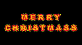 Merry Christmas with lamps vintage sign. Glowing letters. Vintag Royalty Free Stock Image