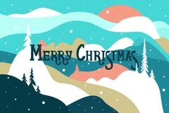 Merry Christmas. Postcard with mountains and snow covered hills, snowfall and the sun, trees. Winter landscape. royalty free illustration
