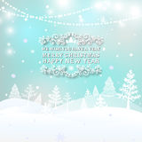 Merry Christmas Landscape, Christmas greeting card light vector background. Merry Christmas holidays wish design and. Garlands decoration. Happy new year Royalty Free Stock Photos