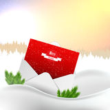 Merry Christmas Landscape, with greeting card, Vector Stock Photo