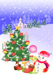 Merry christmas landscape with houses, forest and snowman - Creative illustration eps10 Royalty Free Stock Images