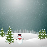 Merry christmas landscape, Snowman In Winter. Christmas, happy new year, background, holiday, snow, snowfall, moonlight, ice, snowman, greeting, card, santa Royalty Free Stock Photo