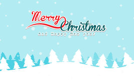 Merry Christmas Landscape with text and mountain in background. stock photo