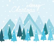 Merry Christmas Landscape. Vector. Christmas card with trees and mountains royalty free illustration