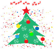 Merry Christmas Landscape. Vector  Happy New Year Royalty Free Stock Image