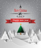 Merry Christmas Landscape. Vector Royalty Free Stock Photos