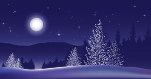 Merry Christmas Landscape. Vector Royalty Free Stock Photo