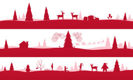 Merry Christmas Landscapes. Set of red festive backgrounds Royalty Free Stock Photography