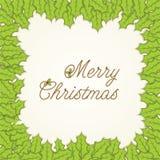 Merry Christmas leaf frame design Stock Image