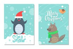Merry Christmas let it Snow 60s Theme Postcard. With penguin with red hat and wolf dressed in green scarf. Vector illustration with animals surrounded by snow stock illustration