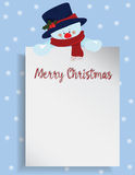 Merry Christmas letter or wish list with snowman Royalty Free Stock Photo
