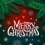 Merry Christmas lettering on background with fir branches and balls. Merry Christmas lettering on background with fir branches and balls Stock Image